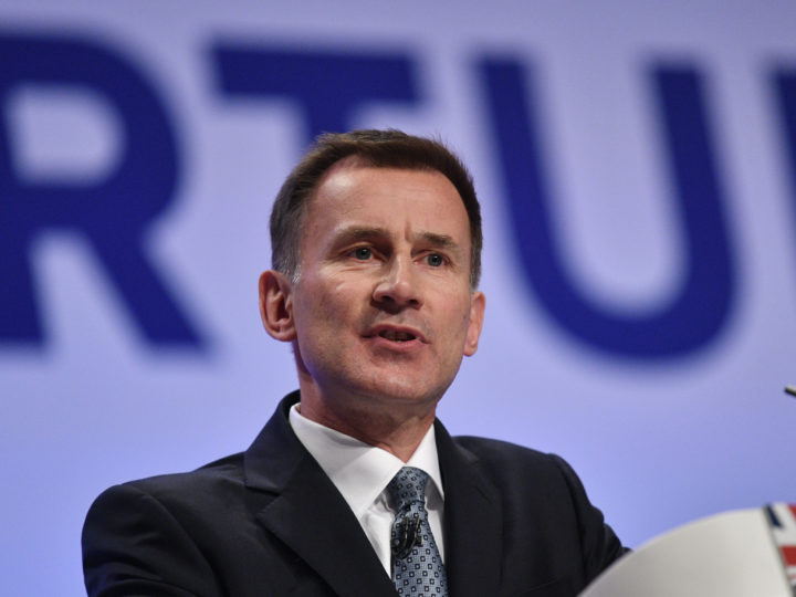 epa07059733 Britain's Foreign Secretary Jeremy Hunt speaks on the first day of the Conservative Party Conference in Birmingham, Britain, 30 September 2018. The Conference runs from 30 September to 03 October.  EPA-EFE/NEIL HALL