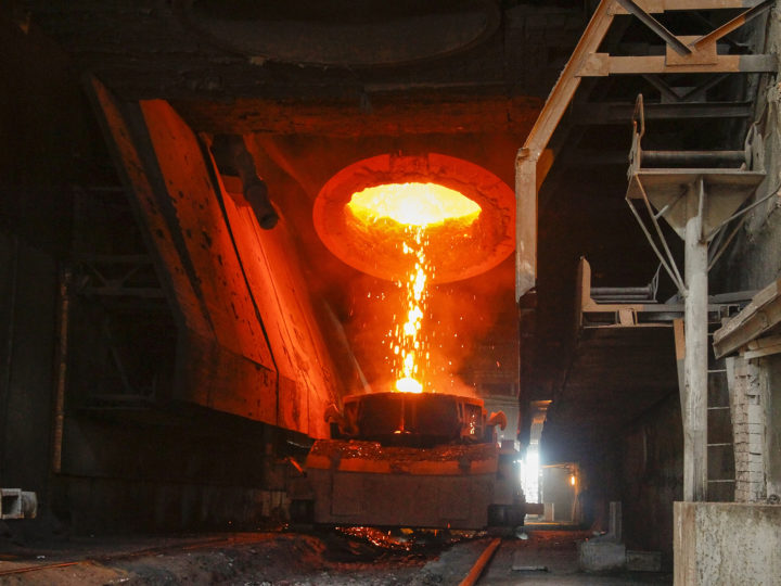 epa06659504 General view of a  blast furnace during it launching on the Alchevsk Iron and Steel Works in the Russia-backed separatists controlled city of Alchevsk, Ukraine, 10 April 2018. Operations at Alchevsk Iron And Steel Works were brought to a halt in February 2017 due to a trade bloackade, and was later nationalized by self-proclaimed Luhansk Peoples Republic (LPR).  EPA-EFE/ALEXANDER ERMOCHENKO