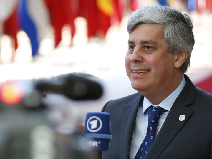 epa06849395 The President of the Eurogroup, Portuguese Finance Minister Mario Centeno speaks to the media as he arrives for the European Council summit in Brussels, Belgium, 29 June 2018. The Twenty-Eight leaders of the European Union reached an agreement on the migratory issue at the end of the night, Friday, June 29 around 4:30, announced the President of the Council European Donald Tusk.  EPA-EFE/JULIEN WARNAND