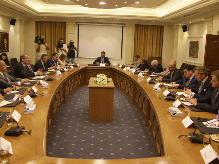 epa06873821 Jordanian Minister of Foreign Affairs and Expatriates Ayman Al Safadi (4-L) meets with ambassadors of the European Union in Amman, Jordan, 08 July 2018. Safadi discussed with the EU ambassadors the latest developments in the region and the situation in Syria.  EPA-EFE/AHMAD ABDO