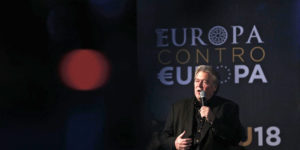 epa07039826 Former White House strategist Steve Bannon speaks at the 'Atreju 18' political meeting, the Youth Festival of the right-wing Brothers of Italy (Fdl, Fratelli d'Italia) party in Rome, Italy, 22 September 2018. The US alt-right figurehead media strategist Steve Bannon is in Europe on a mission to unify European populist parties.  EPA-EFE/MASSIMO PERCOSSI