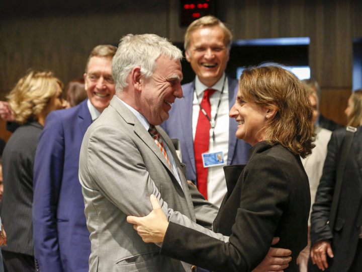 epa07080126 German State Secretary for the Environment Jochen Flasbarth (L) and Spanish Ecological Transition Minister Teresa Ribera (R) at the start of the Environment Council meeting in Luxembourg, 09 October 2018. The Environment Council will focus on CO2 emission standards, climate change and biodiversity.  EPA-EFE/JULIEN WARNAND