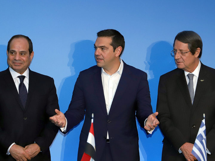 epa07083408 Greek Prime Minister Alexis Tsipras (C), Cyprus President Nicos Anastasiades (R) and  Egyptian President Abdel Fattah al Sisi(L) speaks during a press conference at the 6th Greece-Cyprus-Egypt Summit, in Elounda, Crete, Greece 10 October  2018. The Summit highlights the high level of cooperation of Greece, Cyprus and Egypt and the enhanced role that their tripartite and multilateral initiatives have gained in promoting regional stability, security and development in a particularly critical period for the region.According to government sources, regional development, energy security, regional stability in the Eastern Mediterranean, economic cooperation, as well as the tripartite cooperation on economic, digital and environmental sectors will dominate the contacts of the leaders while agreements and memoranda of cooperation will be signed.  EPA-EFE/NIKOS CHALKIADAKIS