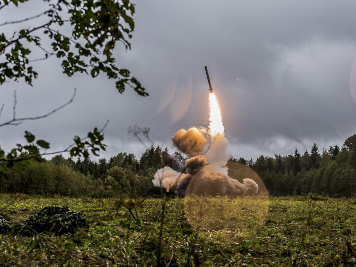 epa07108046 (FILE) - A handout photo made available by  the Russian Defence Ministry on 19 September 2017 shows Russian tactic missile Iskander -M during Zapad 2017 military exercises on Luga range in St. Petersburg region, Russia, 18 September 2017 (reissued 20 October 2018). According to media reports, the Trump administration has told US allies that it wants to withdraw from the landmark Reagan-era Intermediate-range Nuclear Forces Treaty, or INF.  EPA-EFE/KONSTANTIN ALYSH / DEFENCE MINISTRY HANDOUT HANDOUT  HANDOUT EDITORIAL USE ONLY/NO SALES