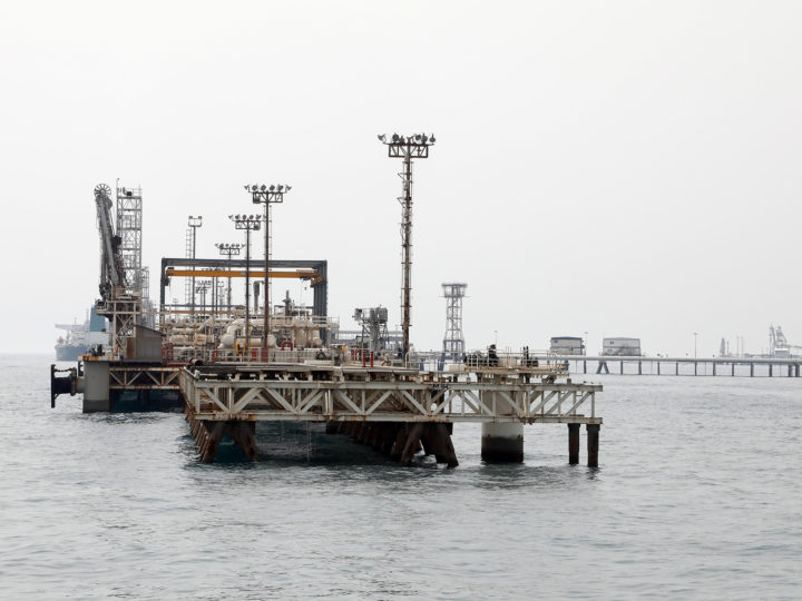 epa05844560 A general view of the Kharg oil terminal at the Kharg Island, in Persian Gulf, southern Iran, 12 March 2017. According to estimates, Kharg oil terminal handles 98 per cent of Iran's crude exports.  EPA/ABEDIN TAHERKENAREH