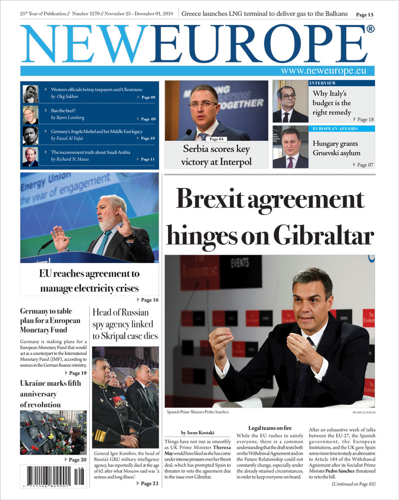 Issue 1270: Brexit agreement hinges on Gibraltar (Print Edition)