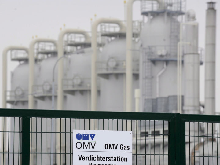 epa04627046 (FILE) A file photo dated 07 January 2009 showing the facilities of European Gas Hub (CEGH) where Russian gas usually arrives in Baumgarten, Austria. Austria-based oil and gas company OMV said 19 February 2015 that its net loss quadrupled to 308 million euros (351 million dollars) in the fourth quarter last year as oil prices plummeted. In addition to the price decline, write-offs at OMV's partly owned subsidiary Petrol Ofisi in Turkey and at its gas power plant in Romania had cost the major Central and Eastern European energy group 700 million euros. OMV had made a loss of 78 million euros in the last three months of 2013. The average price at which OMV was able to sell its crude oil dropped 30 per cent to below 70 dollars per barrel in the fourth quarter of 2014, in line with global oil markets. Revenues fell by a quarter to 7.7 billion euros, while the operating loss widened from 99 million to 404 million euros.  EPA/ROBERT JAEGER