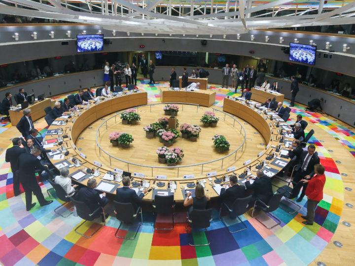 epaselect epa06045067 A general view of the meeting room at the start of the second day of the European Council in Brussels, Belgium, 23 June 2017. European heads of states and governments gather for a two-days European Council meeting on 22 and 23 June which will mainly 'focus on the ongoing efforts to strengthen the European Union and protect its citizens through the work on counterterrorism, security and defence, external borders, illegal migration and economic development'. On the meeting's second day the EU leaders 'are expected to reaffirm their commitment to a rules-based multilateral trading system, as well as to free trade and investment', the European Council said in a press release.  EPA/STEPHANIE LECOCQ / POOL