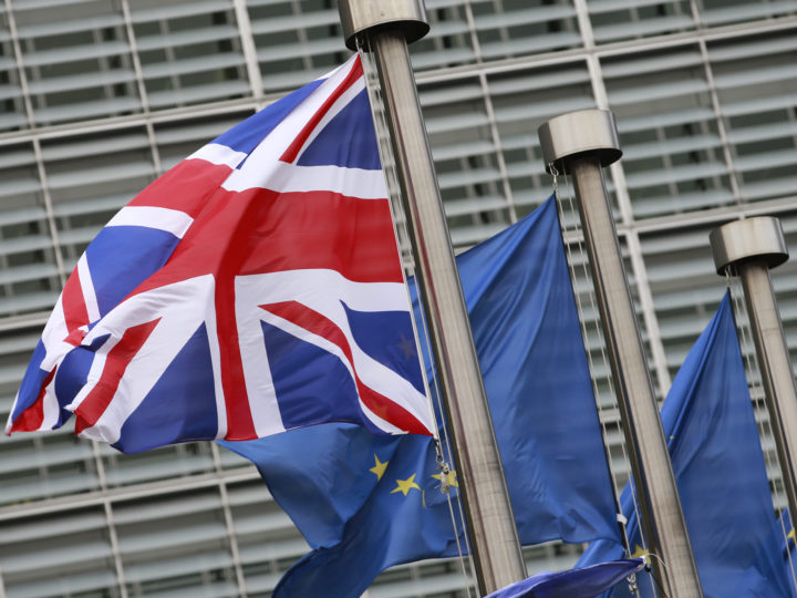 epa06376221 British and European flags in front the  European Commission headquarters during a meeting of British Prime Minister Theresa May and President Jean-Claude Juncker on Brexit Negotiations in Brussels, Belgium, 08 December 2017. Reports state that Theresa May is in Brussels after talks on the issue of the Irish border where she will meet with European Commission President Jean-Claude Juncker and EU negotiator Michel Barnier.  EPA-EFE/OLIVIER HOSLET
