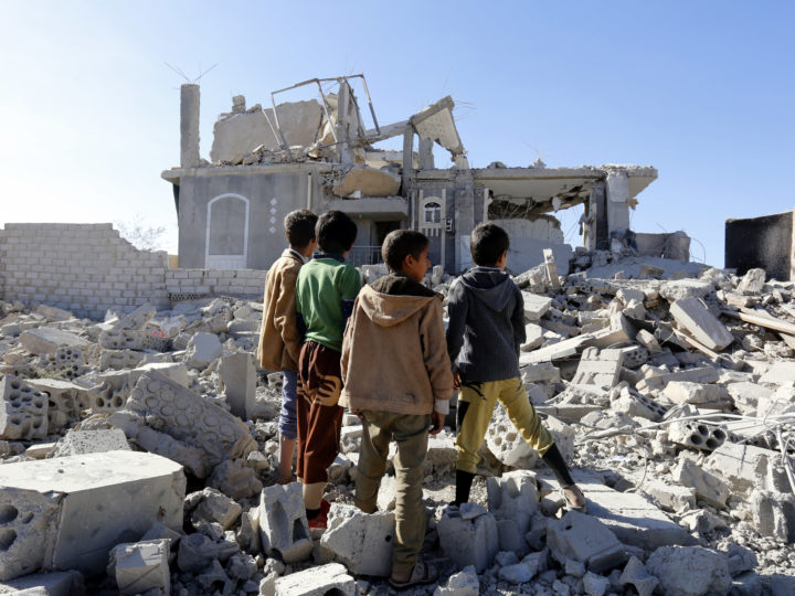 epaselect epa06588729 Yemeni children inspect the site of alleged Saudi-led airstrikes hit a building, killing at least nine people in Sana?a, Yemen, 08 March 2018. According to reports, the Saudi-led coalition?s warplanes allegedly pounded a neighborhood in Sana?a, killing at least nine people, including two women and four children, and wounded four others.  EPA-EFE/YAHYA ARHAB
