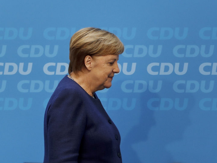epa07142645 German Chancellor Angela Merkel, leaves the stage after a press conference following a conclave meeting of the federal board of the Christian Democratic Union (CDU), in Berlin, Germany, 05 November 2018. The CDU discusses the future action plan of the party after Angela Merkel announced that she would not run for re-election as chairwoman in the next CDU party conference in December.  EPA-EFE/FELIPE TRUEBA