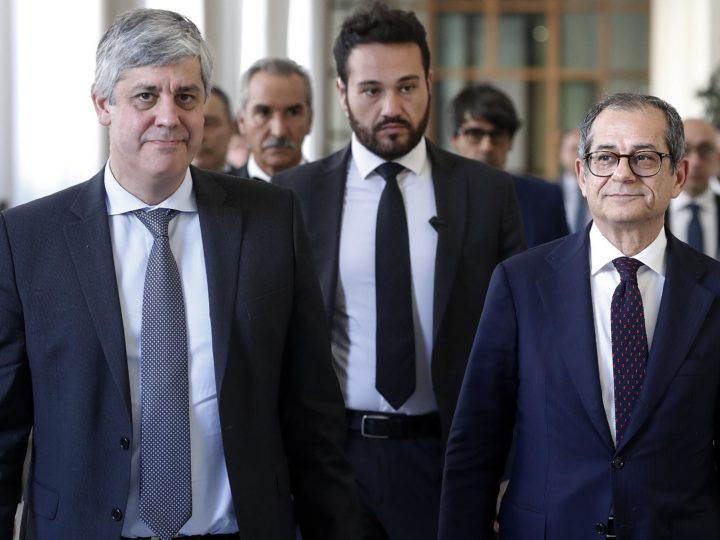 epa07153608 Giuseppe Tria (R), Italian Minister of Economy, and Mario Centeno (L), President of Eurogroup, during their meeting at the Ministry of Economy, Rome, Italy, 09 November 2018.  The meeting was about the euro area reform and other Eurogroup agenda topics, such as the Italian budget plan.  EPA-EFE/RICCARDO ANTIMIANI