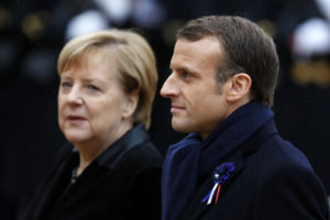 French President Emmanuel Macron and German Chancellor Angela Merkel arrive for the ceremony marking the centenary of the end of WWI at the Elysee Palace in Paris, November 11, 2018. EPA-EFE/CHRISTOPHE PETIT TESSON