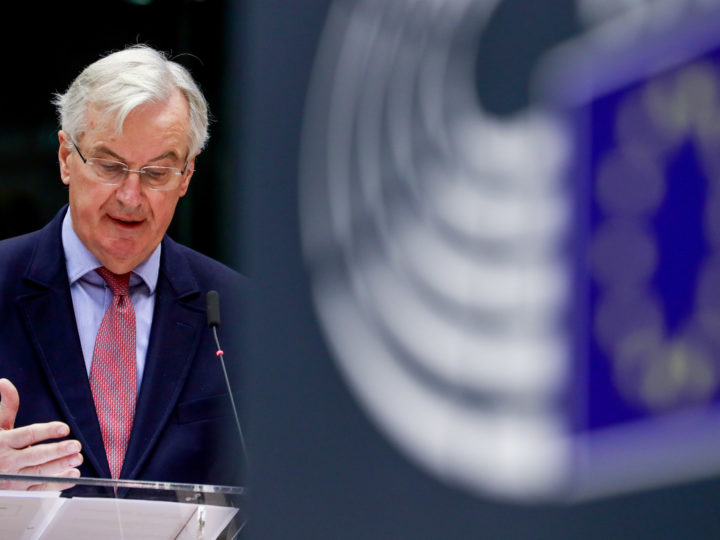 epa07196854 Michel Barnier, the European Chief Negotiator of the Task Force for the Preparation and Conduct of the Negotiations with the United Kingdom under Article 50, gives a speech on Britain's withdrawal from the European Union during a plenary session at the European Parliament in Brussels, Belgium, 29 November 2018.  EPA-EFE/STEPHANIE LECOCQ