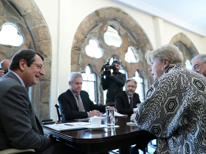 epa07234693 Cypriot President Nicos Anastasiades (L) speaks to United Nations Secretary General's (UNSG) advisor Jane Holl Lute (2-R) at the Presidential Palace in Nicosia, Cyprus, 16 December 2018. Lute is to meet for the third time with the Cyprus' two leaders, Greek Cypriot President Nicos Anastasiades and Turkish Cypriot leader Mustafa Akinci. Cyprus remains divided since the 1974 Turkish invasion of the island. Numerous UN-backed talks, aiming at reunifying the island under a federal structure failed to yield any results.  EPA-EFE/KATIA CHRISTODOULOU