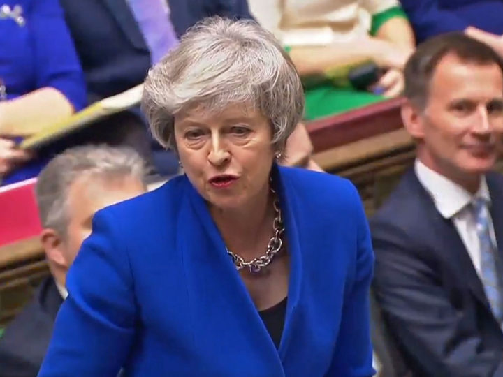 epa07289415 A handout video-grabbed still image from a video made available by UK parliament's parliamentary recording unit showing British  Prime Minister Theresa May during a Prime Ministers Questions (PMQs) in London, Britain, 16 January 2019. Britain's Prime Minister May is facing a confidence vote in parliament after she lost the The Meaningful Vote parliamentary vote on the EU withdrawal agreement on 15 January.  EPA-EFE/PARLIAMENTARY RECORDING UNIT HANDOUT MANDATORY CREDIT: PARLIAMENTARY RECORDING UNIT HANDOUT EDITORIAL USE ONLY/NO SALES HANDOUT EDITORIAL USE ONLY/NO SALES HANDOUT EDITORIAL USE ONLY/NO SALES