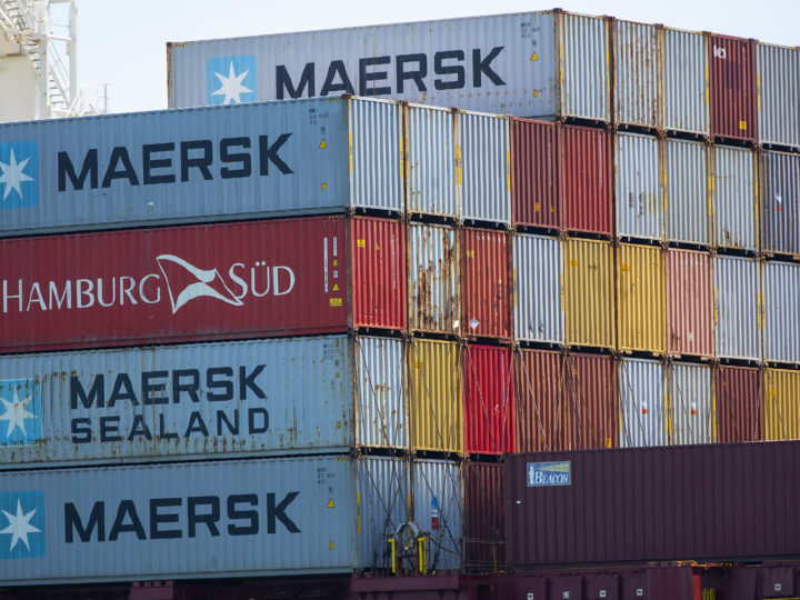 epa06878902 Shipping containers on a cargo ship at the Conley Shipping Terminal in Boston, Massachusetts, USA 10 July 2018.  On 06 July 2018, the Trump Administration imposed a 25 percent tariff on 34 billion US dollars of Chinese imported goods, drawing a response from China with a tariff on US goods imported into China.  EPA-EFE/CJ GUNTHER