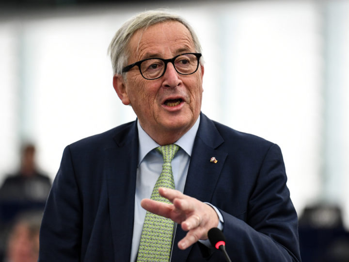epa07285836 Jean-Claude Juncker, President of the European Commission, delivers his speech at the European Parliament in Strasbourg, France, 15 January 2019, during the debate on the Review of the Austrian Council Presidency.  EPA-EFE/PATRICK SEEGER