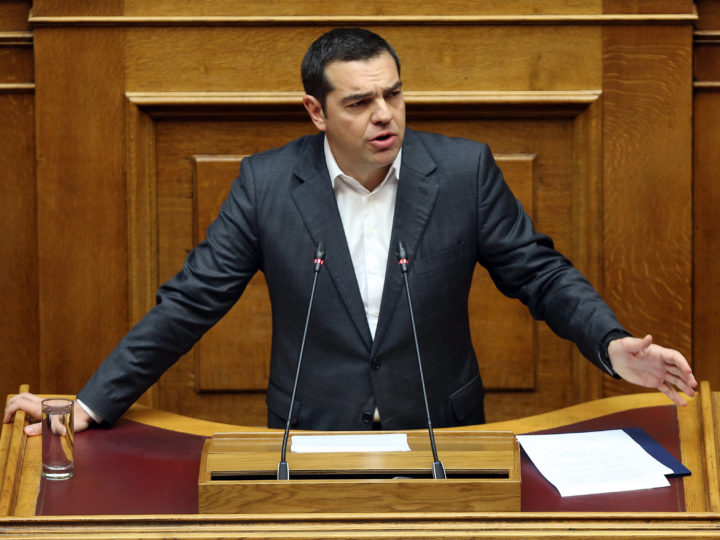 epa07286160 Greek Prime Minister Alexis Tsipras delivers a speech during the debate on the vote of confidence in the government, in the parliament?s plenum, in Athens, Greece, 15 January 2019.The Conference of Presidents said the debate would end with a vote on Wednesday 20 January 2019.  EPA-EFE/ORESTIS PANAGIOTOU