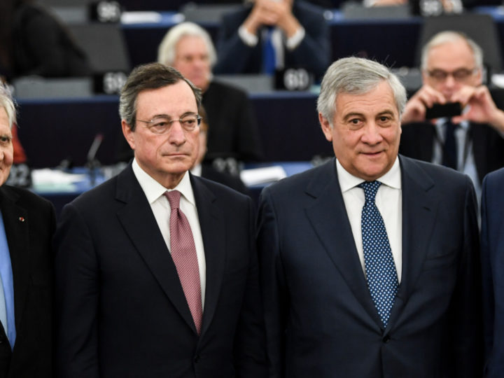 epa07286221 Former European Central Bank President Jean-Claude Trichet, European Central Bank President Mario Draghi, Antonio Tajani, President of the European Parliament, and Jean-Claude Juncker, President of the European Commission (L-R), stands together  at the European Parliament in Strasbourg, France, 15 January 2019, after the 	 commemoration of twenty years of the Euro.  EPA-EFE/PATRICK SEEGER