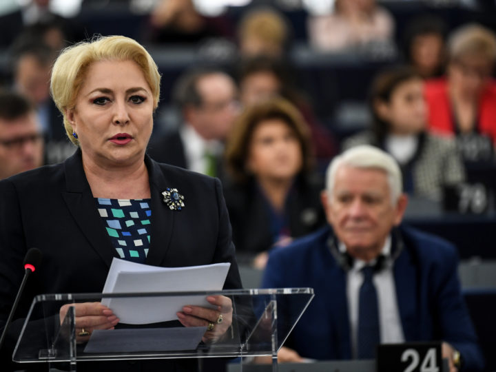 epa07286741 Prime Minister of Romania Viorica Dancila delivers her speech at the European Parliament in Strasbourg, France, 15 January 2019, at the debate on the Presentation of the programme of activities of the Romanian Presidency.  EPA-EFE/PATRICK SEEGER