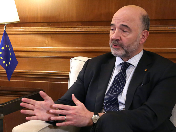 epa07289632 Pierre Moscovici, European Commissioner for Economic and Financial Affairs and Taxation, speaks with Greek Prime Minister Alexis Tsipras (not pictured) during their meeting in Athens, Greece, 16 January 2019. Pierre Moscovici is in Athens a few hours before a confidence vote in the Greek Parliament for the Government of Alexis Tsipras.  EPA-EFE/ORESTIS PANAGIOTOU