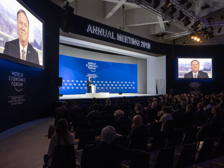 epa07309470 Michael Pompeo, US Secretary of State, speaks via video transmission during a plenary session in the Congress Hall of the 49th annual meeting of the World Economic Forum, WEF, in Davos, Switzerland, 22 January 2019. The meeting brings together entrepreneurs, scientists, corporate and political leaders in Davos under the topic 'Globalization 4.0' from 22 - 25 January 2019.  EPA-EFE/GIAN EHRENZELLER