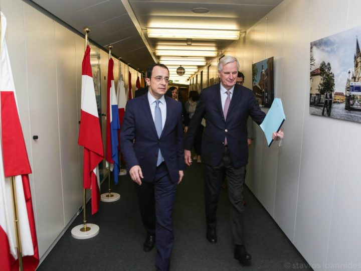 EU Brexit negotiator Michel Barnier and Cyprus Foreign Minister Nikos Christodoulides meet in Brussels, Belgium, 18 Feb, 2019