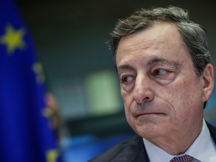 epa07327705 President of the European Central Bank (ECB) Mario Draghi during the last hearing before the European Parliament Committee on Economic and Monetary Affairs (ECON) at the European Parliament in Brussels, Belgium, 28 January 2019.  EPA-EFE/STEPHANIE LECOCQ