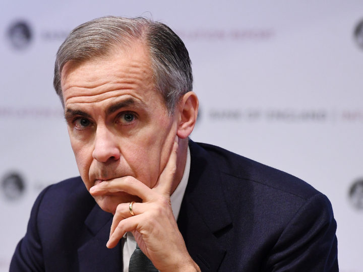 epa07350159 Governor of the Bank of England, Mark Carney, looks on during the quarterly Inflation report at the Bank of England in London, Britain, 07 February 2019. Carney defended the institution analysis which predicts a huge economic crisis if Britain leaves the EU without a dea and pointed out that half of the UK businesses say they are not ready for a no-deal Brexit.  EPA-EFE/ANDY RAIN
