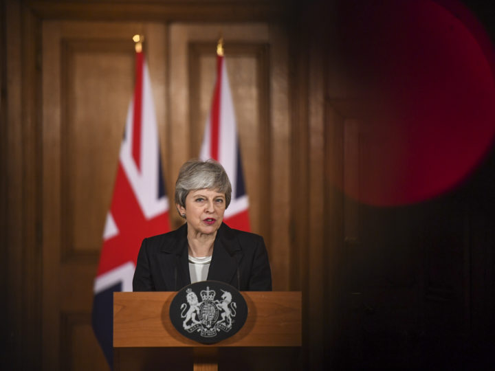 epa07451819 British Prime Minister Theresa May makes a statement inside number 10 Downing Street in London, Britain, 20 March 2019. According to reports, British Prime Minister Theresa May has requested an extension of Article 50 until 30 June 2019.  EPA-EFE/CHRIS J. RATCLIFFE / POOL