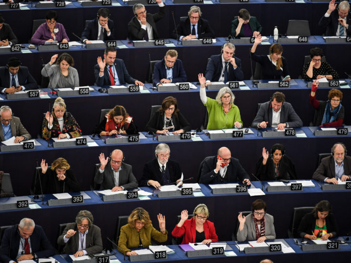 epa07223429 Members of Parliament vote during a plenary session of the European Parliament in Strasbourg, France, 11 December 2018.  EPA-EFE/PATRICK SEEGER