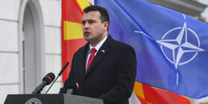 epa07364100 FYR of Macedonian Prime Minister Zoran Zaev addresses the nation during the ceremony of raising the NATO flag alongside the Macedonian flag in front of the government building in Skopje, The Former Yugoslav Republic of Macedonia (FYROM), 12 February 2019. The former Yugoslav Republic of Macedonia's government is due to change the name of the country after the ratification of the 'Protocol of the North Atlantic Treaty for the Accession of North Macedonia' whereby Greece will approve the accession of its northern neighbor to NATO under its new name, as provided by the Prespes Agreement signed by Athens and Skopje.  EPA-EFE/GEORGI LICOVSKI