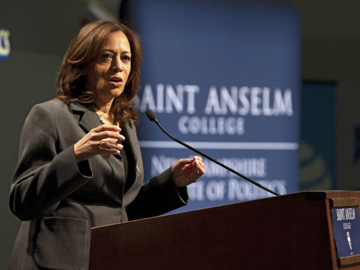 epa07381053 United States Senator Kamala Harris addresses the audience at the Politics and Eggs meeting held at the New Hampshire Institute of Politics on the campus of St Anselm College in Manchester, New Hampshire, USA 19 February 2019. Harris is campaigning for the Democratic nomination for United States President.  EPA-EFE/CJ GUNTHER