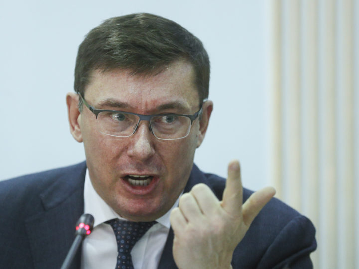epa07431083 Yuriy Lutsenko, Prosecutor General of Ukraine reacts during a joint briefing with Tetyana Slipachuk, the Head of Central Election Committee, Vasyl Grytsak, the Head of Ukrainian Security Service and Ukrainian Internal Minister Arsen Avakov (not pictured) in the Central Election Committee office in Kiev, Ukraine, 12 March 2019. The briefing of Top Security Chiefs was dedicated to safeguarding during Presidential elections, which will take place in Ukraine on 31 March 2019.  EPA-EFE/SERGEY DOLZHENKO