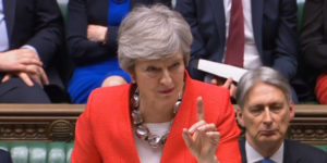 epa07431402 A grab from a handout video made available by the UK Parliamentary Recording Unit shows British Prime Minister Theresa May gestures during a debate at the House of Commons parliament in London, Britain, 12 March 2019. British parliament will vote on British Prime Minister May's amended Brexit deal later in the day. Theresa May wants parliament to back her 'improved' withdrawalk agreement she has negotiated with the EU over the so-called 'backstop'. The United Kingdom is officially due to leave the European Union on 29 March 2019, two years after triggering Article 50 in consequence to a referendum.  EPA-EFE/UK PARLIAMENTARY RECORDING UNIT / HANDOUT MANDATORY CREDIT: UK PARLIAMENTARY RECORDING UNIT HANDOUT EDITORIAL USE ONLY/NO SALES