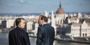 epa07431430 A handout photo made available by the Hungarian Prime Minister's Press Office shows Hungarian Prime Minister Viktor Orban (L) receives Chairman of the European People's Party (EPP) Group in the European Parliament Manfred Weber (R), at the PM's office in the Castle of Buda in Budapest, Hungary, 12 March 2019.  EPA-EFE/BALAZS SZECSODI / HUNGARIAN PM PRESS OFFICE / HANDOUT  HANDOUT EDITORIAL USE ONLY/NO SALES