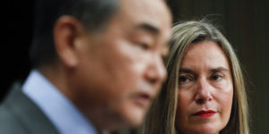 epa07446379 Chinese Foreign Minister Wang Yi (L) and European Union Foreign Policy chief Federica Mogherini during a press conference after a EU / China High-Level strategic Dialogue at Foreign minister level in Brussels, Belgium, 18 March 2019. Reports state that Wang is expected to discuss ways to promote multilateralism and finalise the agenda for next month?s China-EU summit.  EPA-EFE/OLIVIER HOSLET