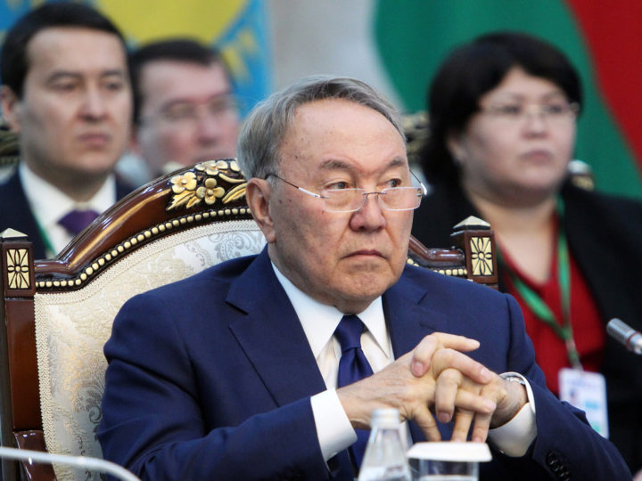 epa07448345 (FILE) - Kazakhstan's President Nursultan Nazarbayev attends the Supreme Eurasian Economic Council meeting in Bishkek, Kyrgyzstan, 14 April 2017 (reissued 19 March 2019). According to reports, Kazakh President Nursultan Nazarbayev said on 19 March 2019 he was resigning from his office. Nazarbayev was in office for 29 years.  EPA-EFE/IGOR KOVALENKO