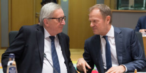 epa07450950 European Commission President Jean-Claude Juncker (L) and President of the European Council Donald Tusk (R) at the start of EU Tripartite Social Summit at the European Council in Brussels, Belgium, 20 March 2019. The main theme of the summit is 'For a stronger, united and forward-looking Europe'.  EPA-EFE/STEPHANIE LECOCQ