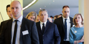 epaselect epa07450852 Hungarian Prime Minister Viktor Orban (C) arrives for the European People's Party (EPP) Political Assembly at the European Parliament in Brussels, Belgium, 20 March 2019. EPP will decide whether to expel its Hungarian member, Fidesz party.  EPA-EFE/STEPHANIE LECOCQ