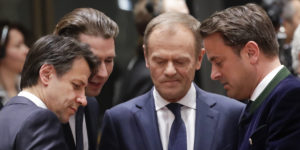 epa07453560 (L-R) Italian Prime Minister Giuseppe Conte, Austrian Chancellor Sebastian Kurz, President of the European Council Donald Tusk and Luxembourg's Prime Minister Xavier Bettel  during a round table at the European Council in Brussels, Belgium, 21 March 2019. European Union leaders gather for a two-day summit to discuss, among others, Brexit and British PM request to extend Article 50.  EPA-EFE/OLIVIER HOSLET