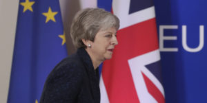epa07454524 Britain's Prime Minister Theresa May arrives to give a press briefing at the end of article 50 session at the European Council in Brussels, Belgium, 21 March 2019. European Union leaders gather for a two-day summit to discuss, among others, Brexit and British Prime Minister request to extend Article 50.  EPA-EFE/STEPHANIE LECOCQ