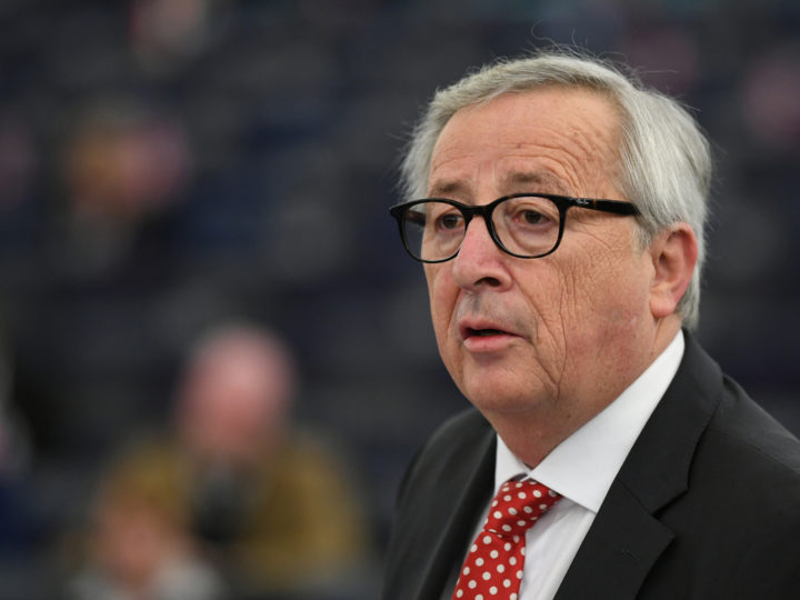 epa07509452 Jean-Claude Juncker, President of the European Commission,  delivers his speech at debate on the consequences of Council´s decision to endorse further delay of the UK withdrawal from the EU at the European Parliament in Strasbourg, France, 16 April 2019.  EPA-EFE/PATRICK SEEGER
