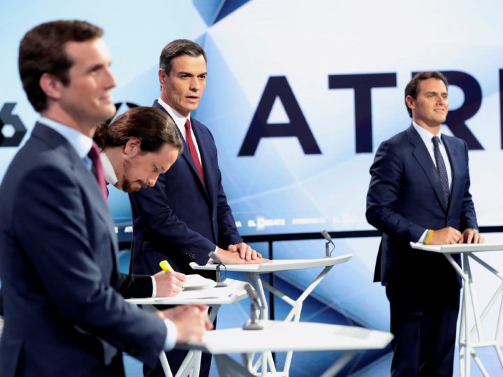 epa07523992 Spanish presidency candidates (L-R); leader of People's Party, Pablo Casado; leader of Unidas Podemos, Pablo Iglesias; Spanish Prime Minister and leader of Socialist Party (PSOE), Pedro Sanchez; and leader of Citizens, Albert Rivera; react at Spanish media group 'AtresMedia' studios prior the second four-party debate in Madrid, Spain, 23 April 2019. Leaders of PP's party, PSOE, Ciudadanos (Citizens) and Unidas Podemos will participate during a four-party debate tonight at Spanish public television headquarter. Spain will be holding general elections 28 April 2019.  EPA-EFE/JuanJo Martín