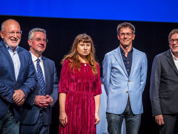 (L-R) Frans Timmermans for the Party of European Socialists, Jan Zahradil for the Alliance of Conservatives and Reformists in Europe, Violeta Tomic for the Party of the European Left, Bas Eickhout for the European Greens Party en Guy Verhofstadt for the Alliance of Liberals and Democrats for Europe prior to the Maastricht Debate in Theater on the Vrijthof in Maastricht, The Netherland, 29 April 2019. The candidates for the presidency of the European Commission debate with each other in the run-up to the European elections.  EPA-EFE/MARCEL VAN HOORN