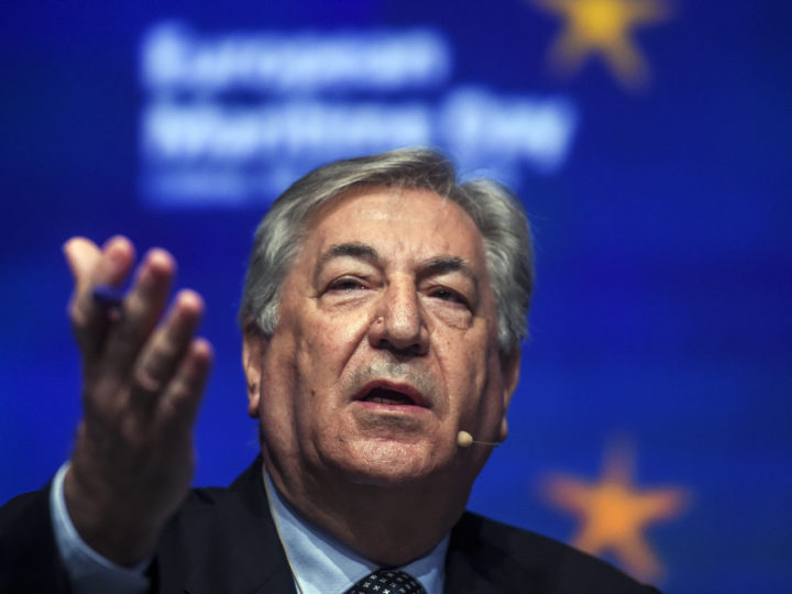 European Comissionner Karmenu Vella speaks at Lisbon Congress Center during the European Maritime Day event in Lisbon on May 16, 2019.