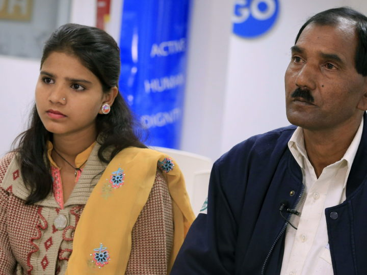 epa04706930 Ashiq Masih (R), husband of Pakistani Christian woman condemned to death, Asia Bibi, stands next to his 15-year-old daughter Eisham during an interview in Madrid, Spain, 16 April 2015. Masih, who is attending the 1st International Congress on Religious Freedom in Madrid, asked the international community to pressure Pakistan's Government for the pardon of his wife. Asia Bibi was imprisoned and sentenced to death in 2009, accussed of blasphemy following a dispute with some Muslim women over a bowl of water.  EPA/ZIPI