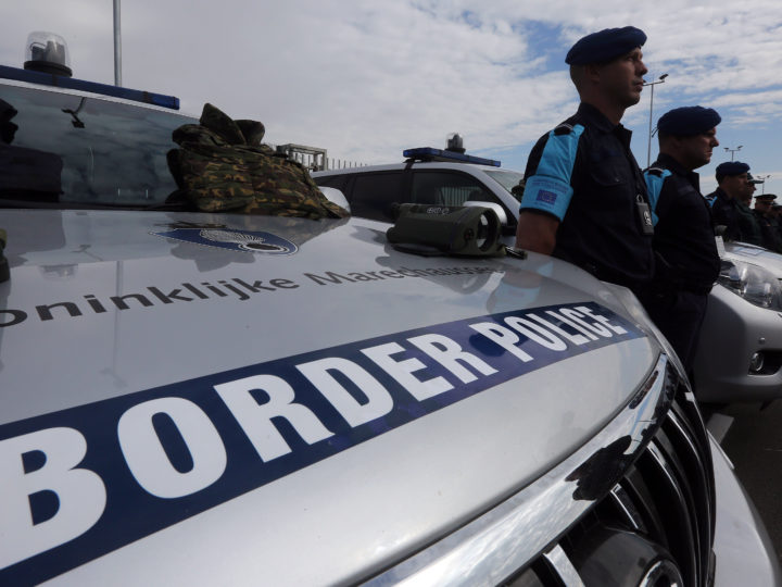 epa07468431 (FILE) - Police officers of European Border and Coast Guard stand on duty, during the official launch of the European Border and Coast Guard, in Kapitan Andreevo Check Point, on the borders of Bulgaria with Turkey, 06 October 2016 (reissued 28 March 2019). To protect Europe's external borders, the EU's Frontex border patrol force is to be expanded to up to 10,000 troops by 2027, according to announcements by participants in the negotiations between EU states and the European Parliament on 28 March 2019.  EPA-EFE/ORESTIS PANAGIOTOU