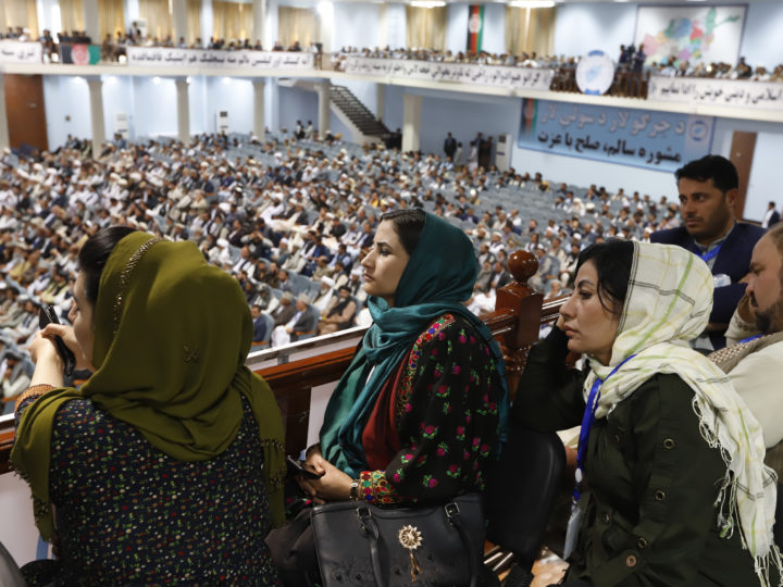 epa07544077 Afghan women listen to a speech by Afghan president Ghani during the closing ceremony of the Afghan government Loya Jerga (lit. Grand Assembly) in Kabul, Afghanistan, 03 May 2019. Afghan president Ghani announced that as a goodwill act for peace with the Taliban movement his government is releasing some 175 Taliban prisoners from jail and called on the Taliban to show their willing to reach a long-term ceasefire.  EPA-EFE/JAWAD JALALI